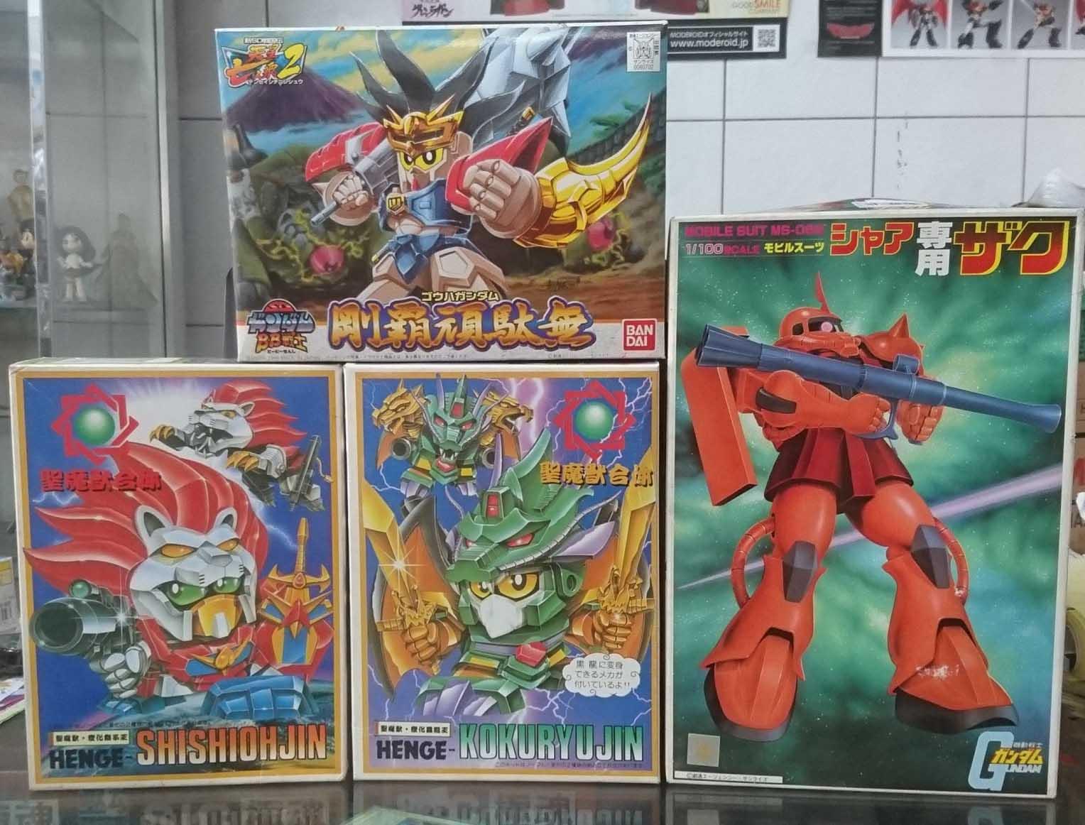 BB戰士系列、聖魔獸合體、1/100夏亞專用薩克,益祥模型玩具外盒實際拍攝照片。