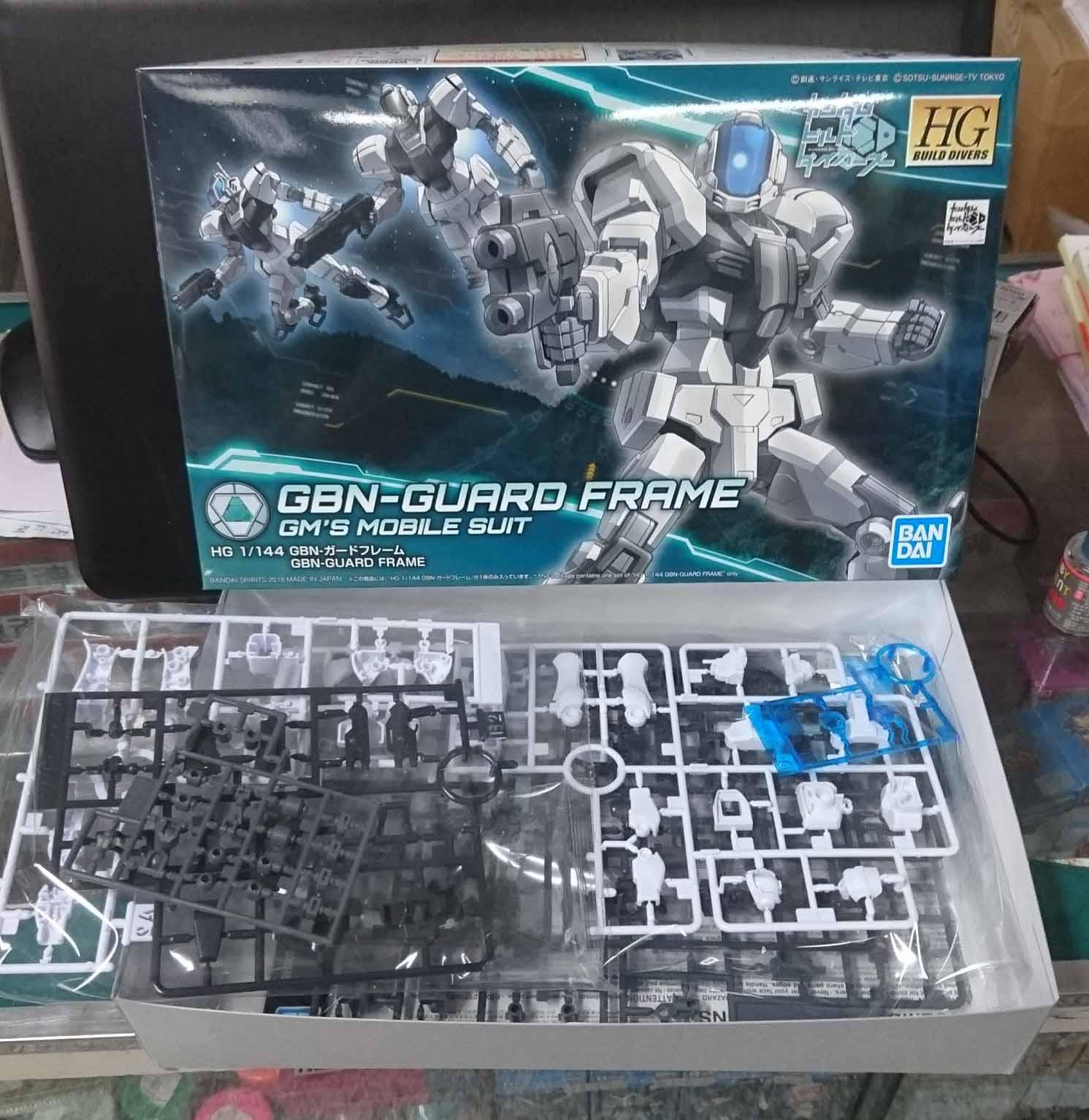 HGBD 1/144 GBN警衛機,益祥模型玩具 外盒及零件實際拍攝照片。