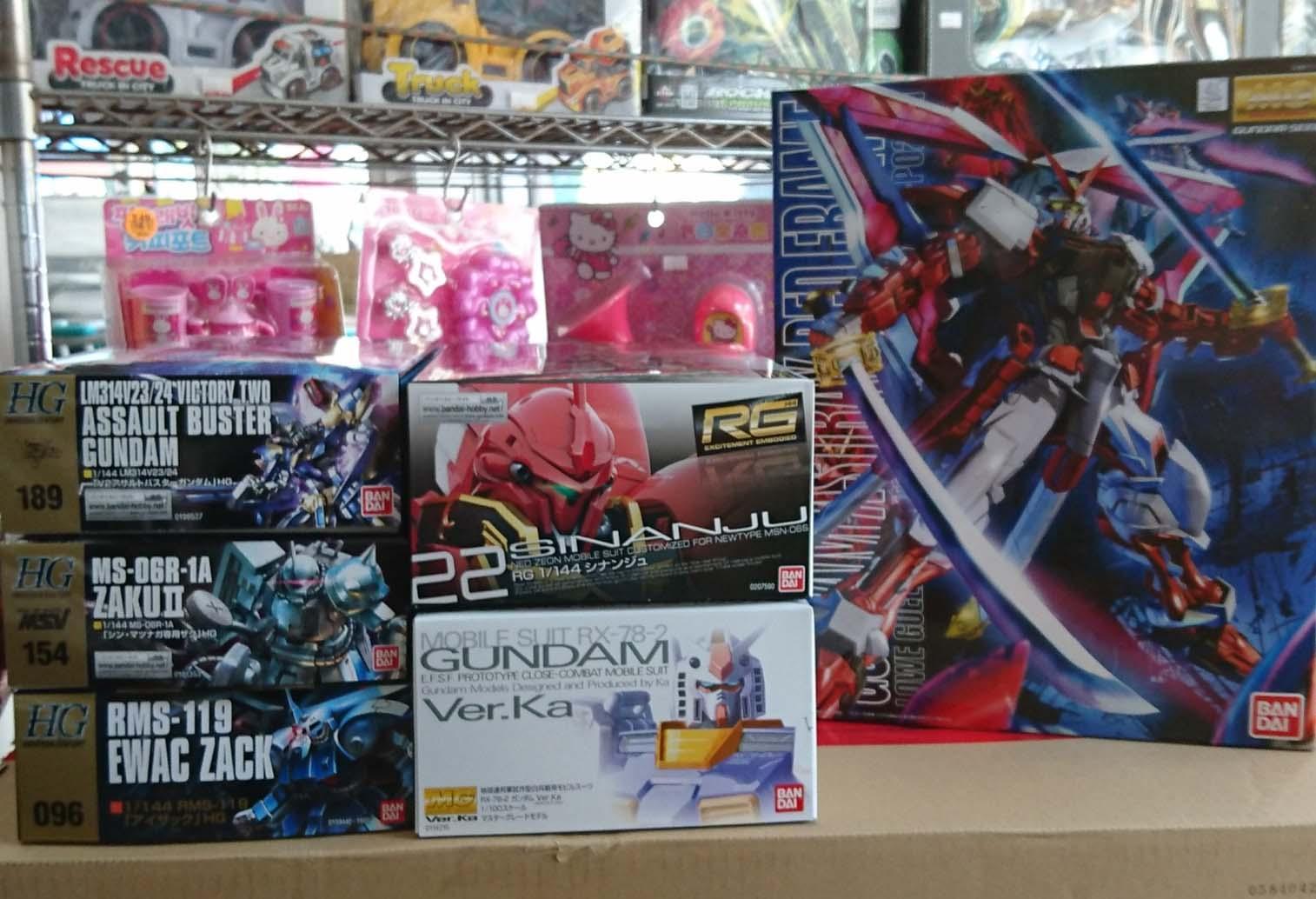 HGUC、MG、RG 系列商品,益祥模型玩具 外盒實際拍紹照片。